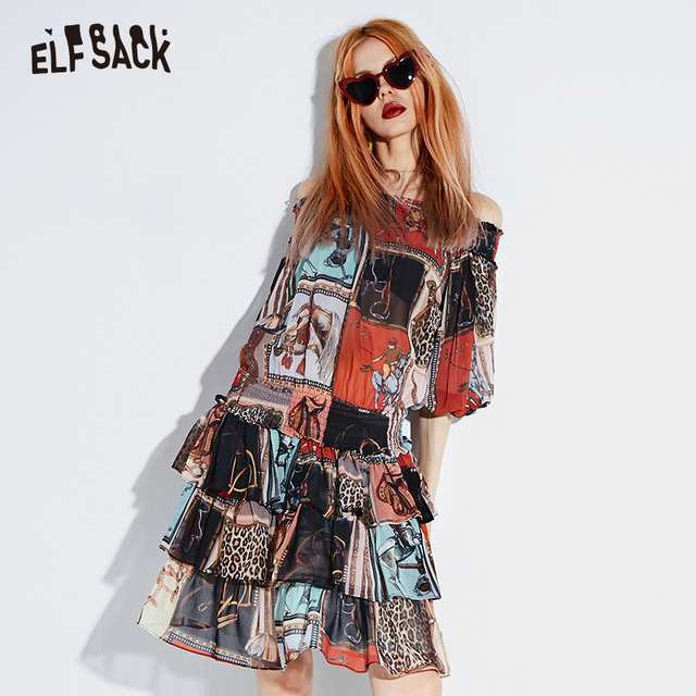 ELF SACK Sexy Slash Neck Vintage Print Women Dresses Fashion Lantern Sleeve Korean Female Dress 2019 Streetwear Casual Clothing
