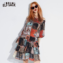 Female Dress Casual Clothing ELFSACK Lantern-Sleeve Vintage Print Sexy Korean Fashion