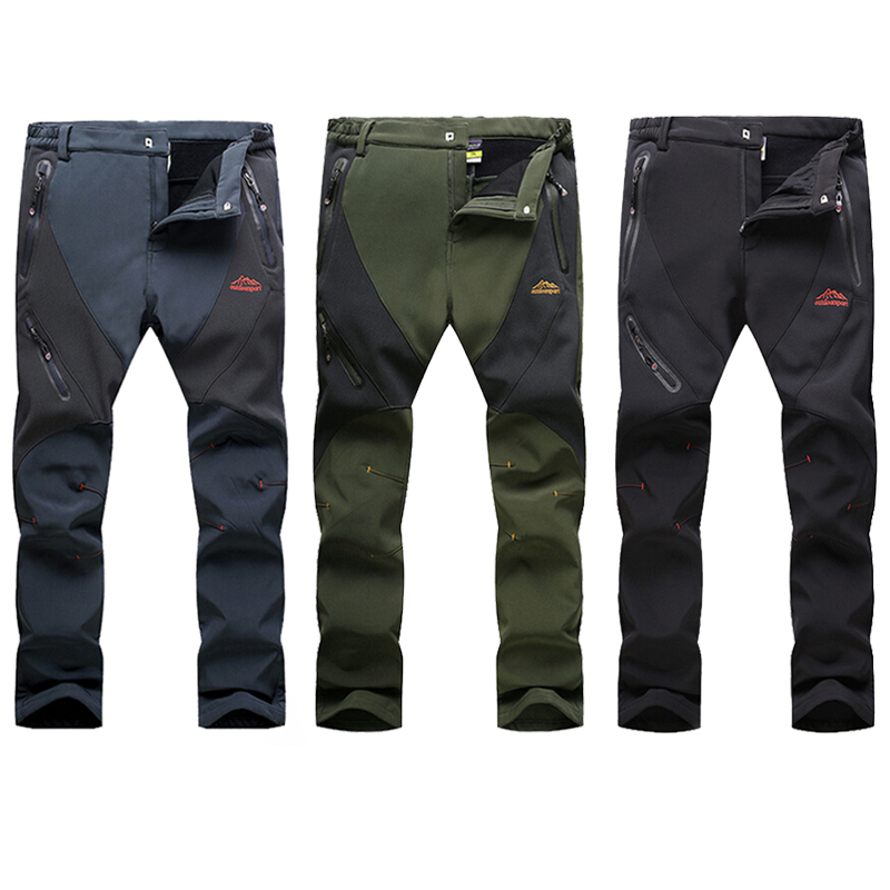 Men Winter Warm Softshell Hiking Pants Outdoor Fleece Waterproof Windproof Long Trousers Sports Trekking Camping Pants RM017 цена