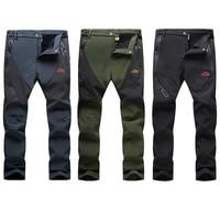 Men Winter Warm Softshell Hiking Pants Outdoor Fleece Waterproof Windproof Long Trousers Sports Trekking Camping Pants RM017