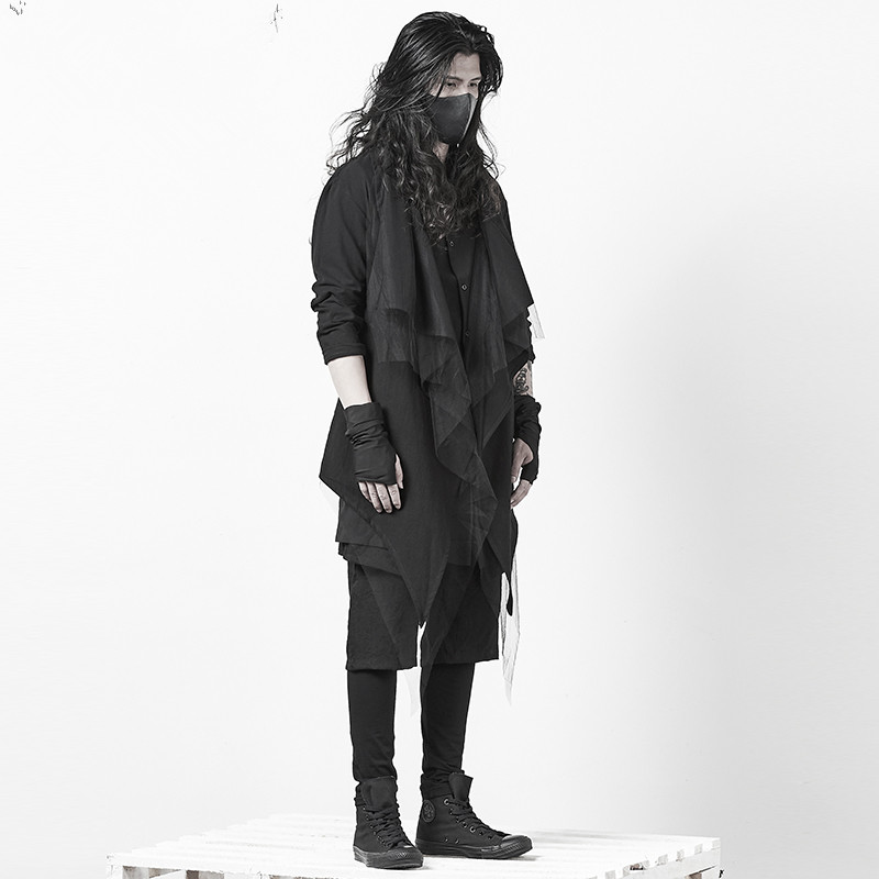 Dark Black Cardigan Coat Korean Version Self-cultivation Waist Personalized Gothic Men's Hair Stylist Clothing Men   Trench   Coat