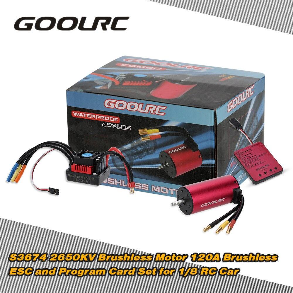 Original GoolRC S3674 2650KV Sensorless Brushless Motor 120A Brushless ESC and Program Card Combo Set for