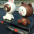 Line Bear Brown & Bunny Cony Shake Head Dolls Cute Face Car Ornaments  Decoration Car Creative Car Accessories