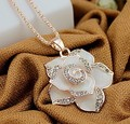 High quality aesthetic long necklace camellia flowers jewelry women fashion 0370