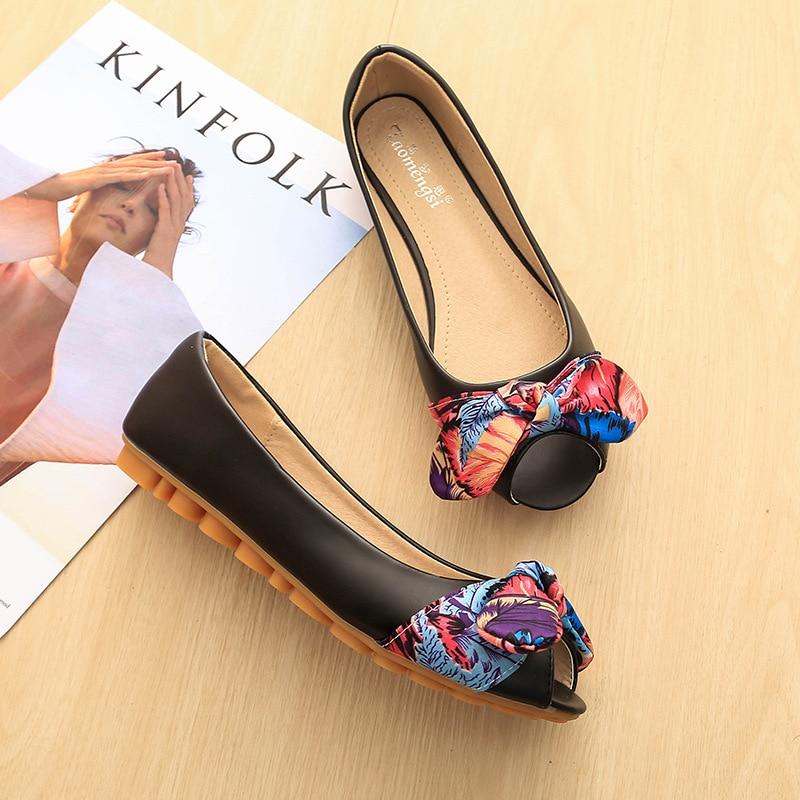 Summer Women's Ballet Flats Shoes Peep