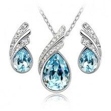 Роскошные Water Drop Rhinestone Ожерелья для мужчин Серьги Наборы для ухода за кожей Для женщин невесты для свадебной вечеринки Серебряные комплекты ювелирных изделий Рождество