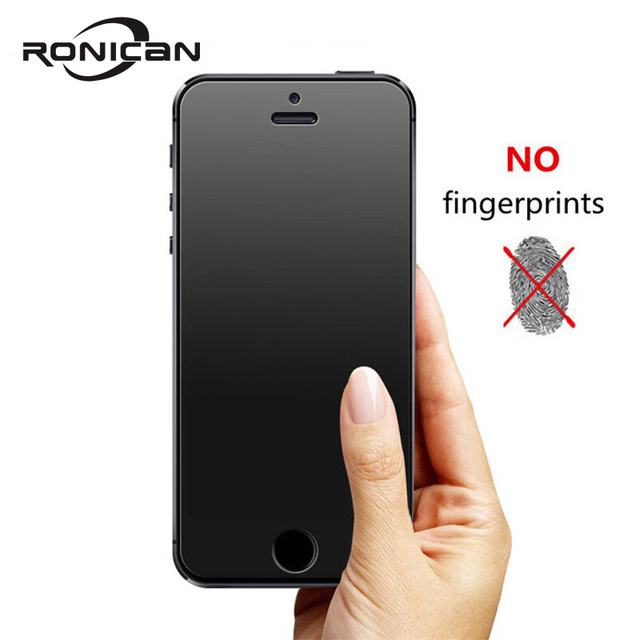 RONICAN No Fingerprint Premium Tempered Glass Screen Protector For iphone 5 5C Frosted Glass Protective Film For iPhone 5s SE