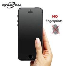 RONICAN אין טביעות אצבע פרימיום מזג זכוכית מסך מגן עבור iphone 5 5C חלבית זכוכית מגן סרט עבור iphone 5s SE