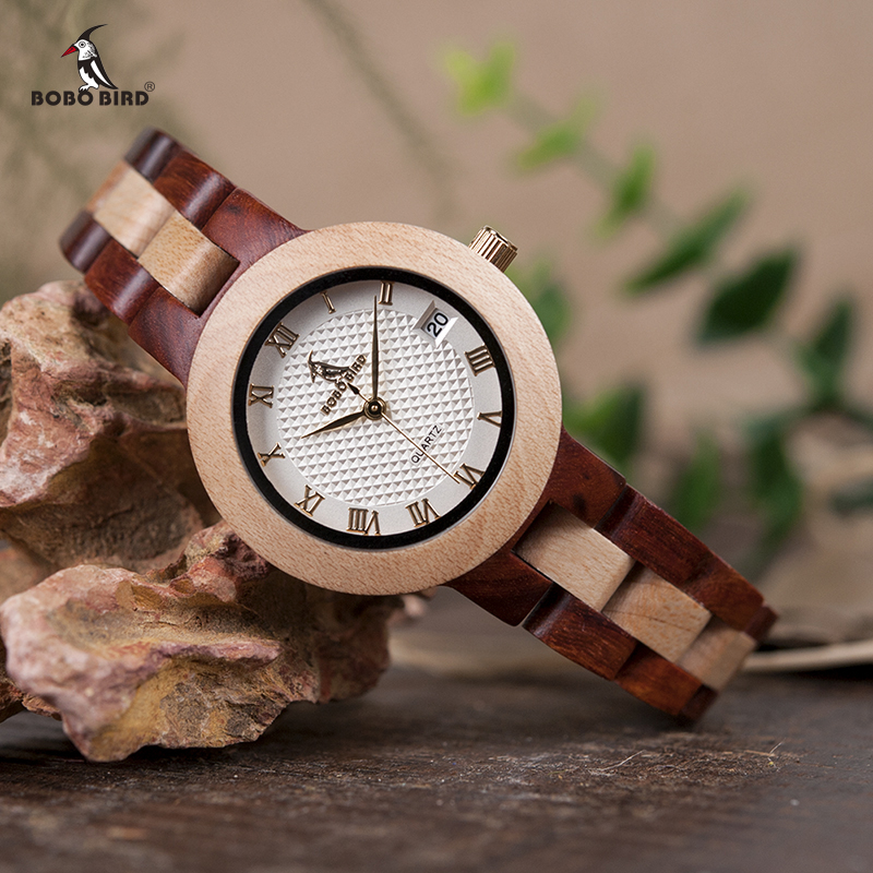BOBO BIRD Two-tone Wooden Watch Women Top Luxury Brand Timepieces Quartz Wrist Watches in Wood Box Accept Customize