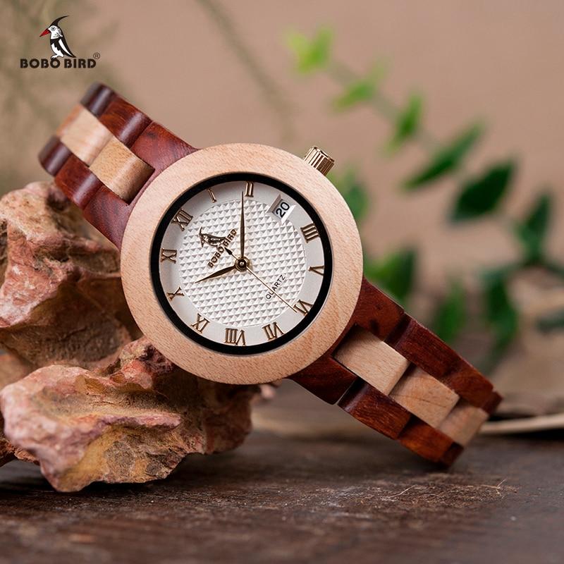 BOBO BIRD Two-tone Wooden Watch Women Top Luxury Brand Timepieces Quartz Wrist Watches in Wood Box Accept Customize
