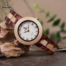 BOBO BIRD dwukolorowe drewniane zegarki damskie Top Luxury Brand Lady zegarki kwarcowe zegarki w drewniane pudełko upominkowe Dropshipping OEM tanie tanio QUARTZ Bransoletka zapięcie Bambus 3Bar Moda casual 16mm ROUND 11 5mm Kompletna kalendarz Odporne na wodę Hardlex W-M19 O24