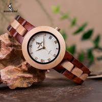 Mejor BOBO BIRD reloj de madera de dos tonos para mujer relojes de pulsera de cuarzo de marca de lujo superior en caja de madera aceptar personalizar