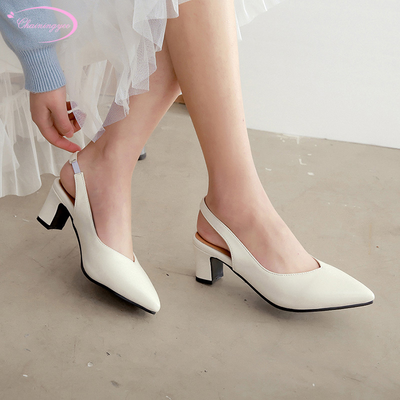 European casual style sexy pointed toe summer sandals fashion slip-on white yellow pink high-heeled chunky women's shoes
