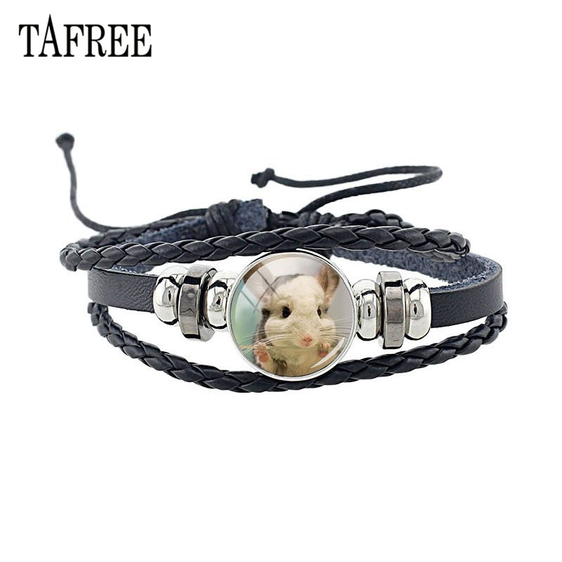TAFREE Lovely Animal Totoro Leather Bracelet Adjustable Black Braided Rope Bracelet Glass Cabochon Charm Unisex Jewelry QF911 in Charm Bracelets from Jewelry Accessories
