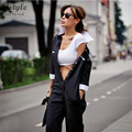 Women Fashion Buttons Formal Shirt Jumpsuit Rompers Female 3/4 Sleeve Turn-down Collar Office Black Bodysuit Free Belt  SD127