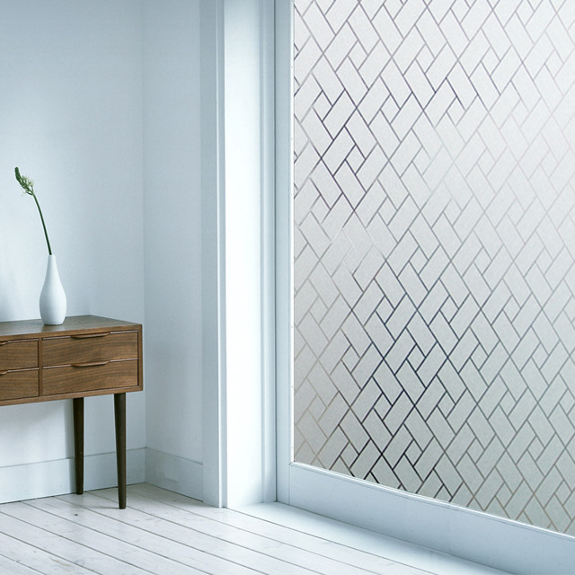 New 3d plaid design frosted static cling window film privacy protection glass vinyl film for bathroom