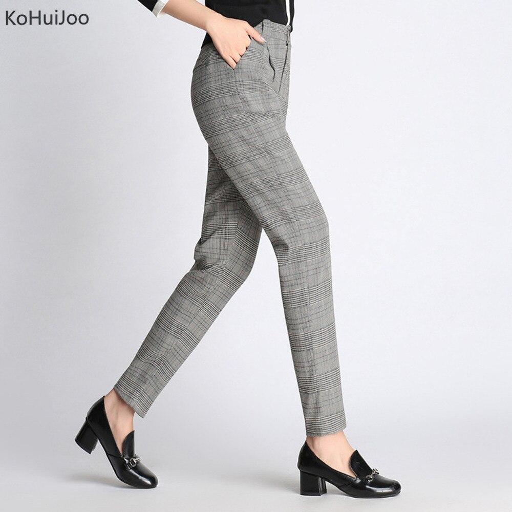 KoHuiJoo 2018 Autumn Women Paid Pant Slim Korean OL Office Work Wear Formal Pants Lady S 4XL ...