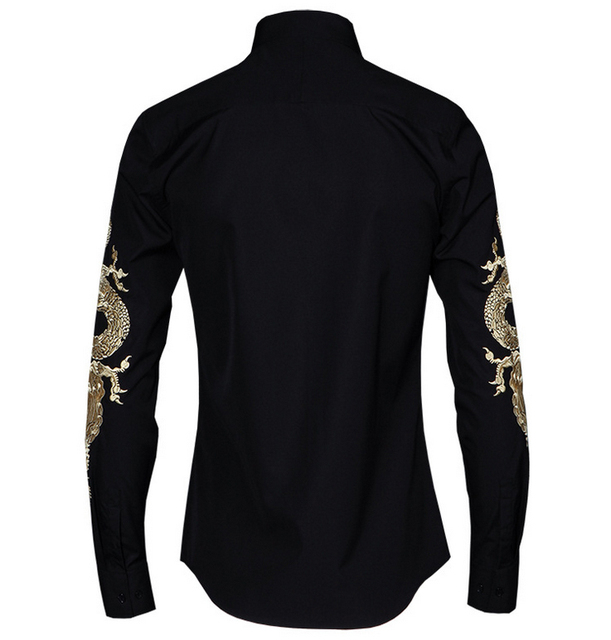 2019 Spring and summer new Chinese wind Golden Dragon embroidery men's long sleeved shirt hairdresser