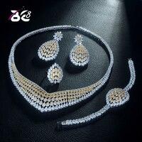 Be 8 High Quality 2 Tones CZ Wedding Jewellery Set Geometric Design Bridal Sets for Women Gift Trendy Set Bijoux Femme S306