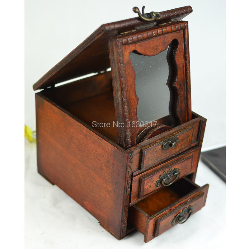 China Wind Exquisite Antique Vintage Mirror With Wooden Jewelry Box Storage Dressing Treasure Custom Wholesale In Boxes Bins From Home