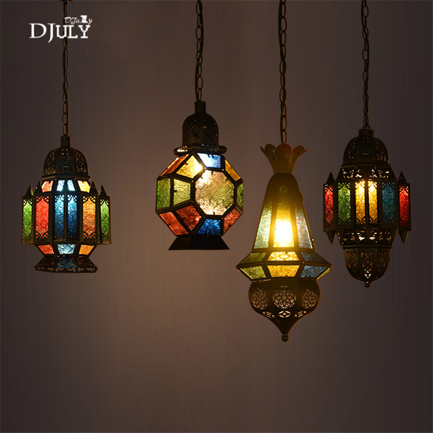 Mediterranean Colored glass retro pendant lights industrial dining room decorative lighting fixtures loft Tiffany hanging lampMediterranean Colored glass retro pendant lights industrial dining room decorative lighting fixtures loft Tiffany hanging lamp