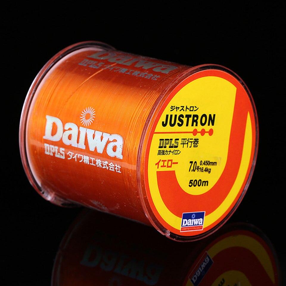 Linha de pesca de nylon daiwa, linha monofilamento de 500 m, 2-35lb, material japonês, para pesca de carpa