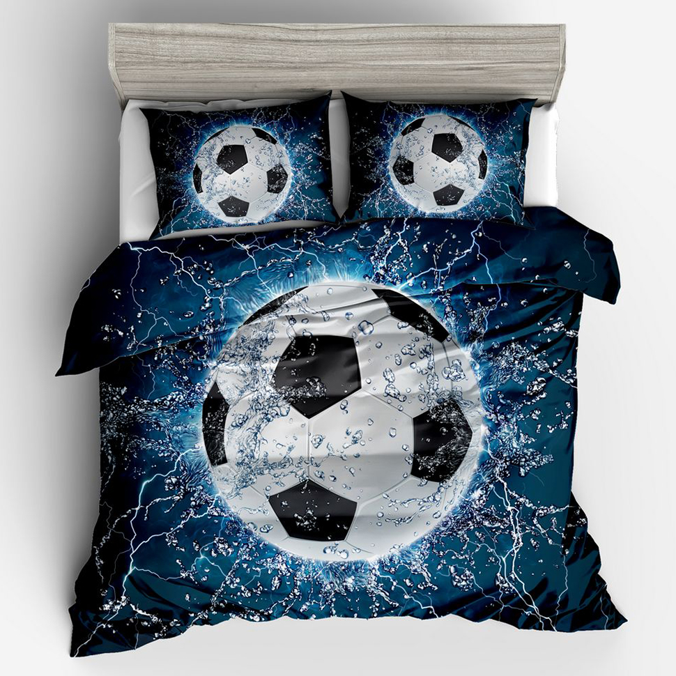 3pcs Bed Quilt Cover Clothes Pillowcase Adult Kids Bedroom Decor 3D Football Duvet Cover Bedding Set Twin Full Queen King Size