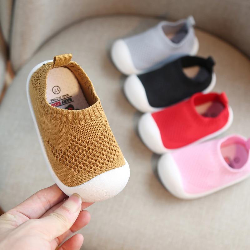 Anne ve Çocuk'ten Tenis Ayakk.'de Bahar Childern Ayakkabı Örme Çocuk ayakkabılar günlük ayakkabılar Kız Erkek Spor Sneakers Yumuşak Alt kaymaz Ayakkabı Çocuklar Loafer'lar title=