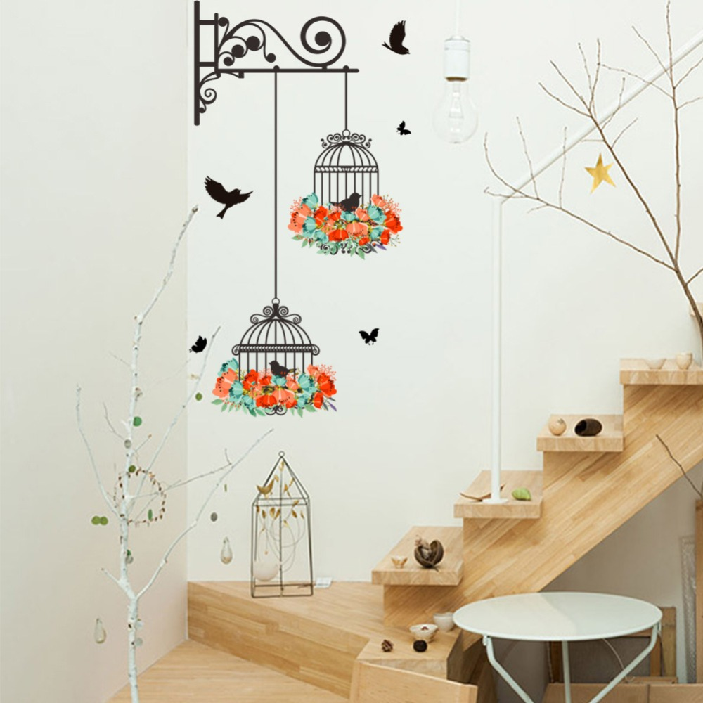% Birdcage Wallpaper wall stickers Kids Rooms Sofa door Bedroom Home Decor DIY Art Decals 3D Vinyl Butterfly flowers wallpaper