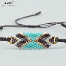 AMIU Handmade MIYUKI Bead Bracelets Popular Geometric Lucky Handmade Charm Delica Bead Bracelets & Bangles For Women Men