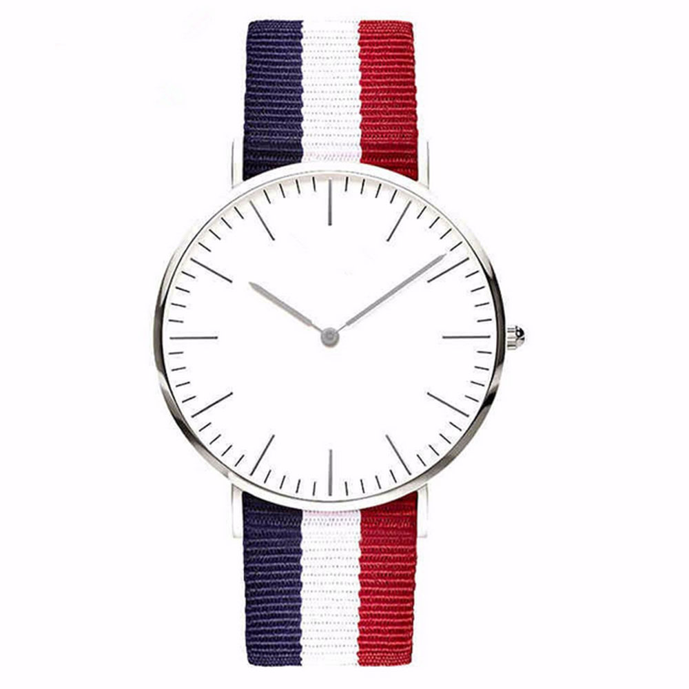 Mens womens nylon and canvas cloth lovers quartz watch Polychromatic simple