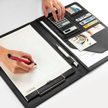 Qualité PU cuir stockage presse-papiers dossier A4 porte-papier bureau fichier dossier bloc-notes