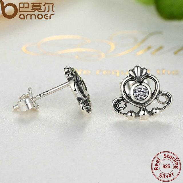 Sterling Silver My Princess Tiara Earrings