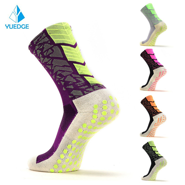 YUEDGE Unisex Padded Cotton Crew Anti-Slip Breathable Comfort Soccer Football Basketball socks