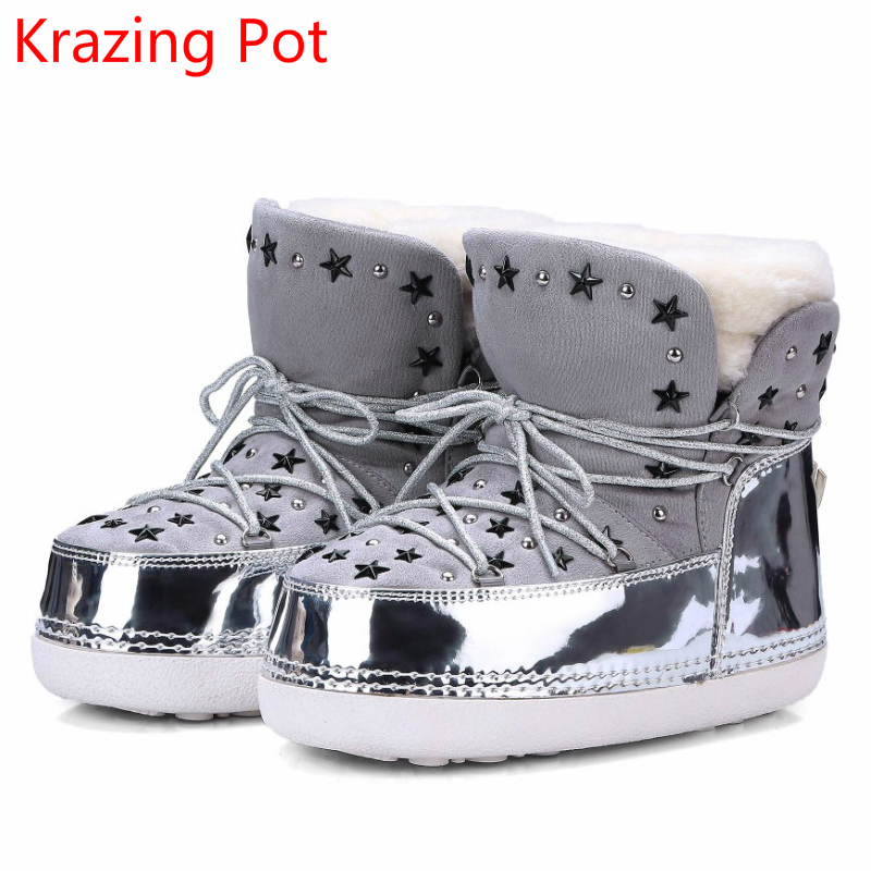 2018 Sheep Fur Slip on Keep Warm Brand Winter Shoes Metal Buckle Rivets Runway Ankle Boots Cross-tied Lace Up Luxury Snow Boots idg brand women slip on high heels short rough with the fall and winter metal buckle rivets shoes woman zapatos mujer tacon