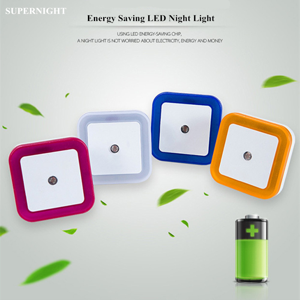 SuperNight Mini Square Light Control Sensor LED Night Light Toilet Stair Bedroom Children Kids Baby Bedside Wall Lamp EU US Plug colorful led night light sensor control square bedroom wall lamp eu us uk plug mini night lamp child creative gift home decor