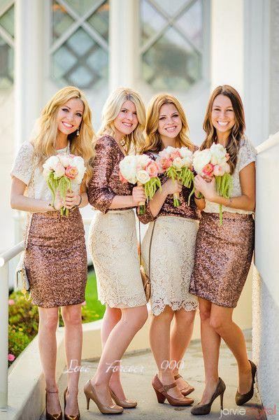 68e16dea6b3 2 Style Sparkly Lace Bridesmaid Dresses Short Sequined Bridesmaid Dress  Sheath Wedding Party Dress Vestido De Dama De Honra