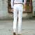 100% Algodón Blanco Pantalón de Los Hombres Straight Slim Fit Pantalones Masculinos 2016 Estilo de la moda de Mediados de Cintura Para Hombre Pantalones Casuales Hombres Más El Tamaño 42
