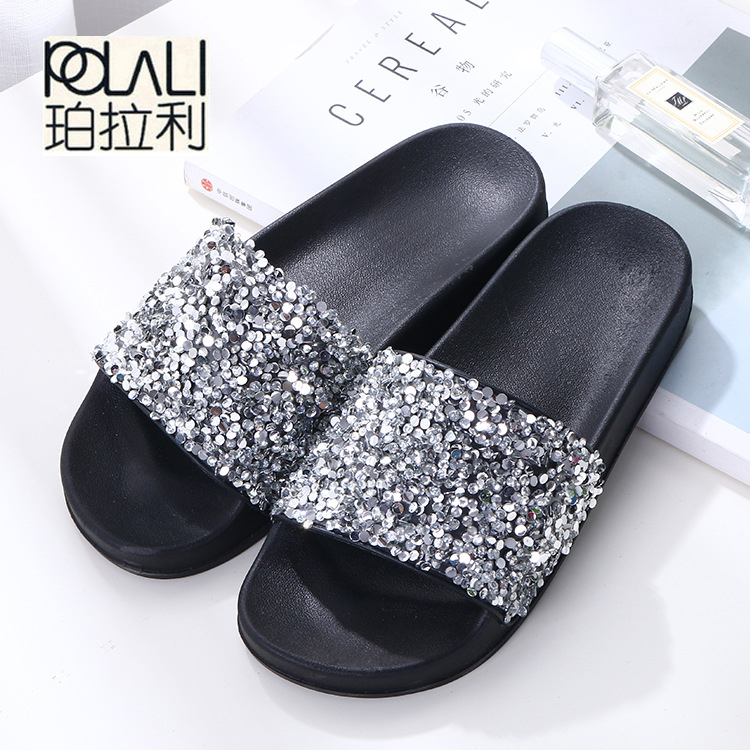 POLALI 2018 Women Summer Home Slippers Flip Flops Peep Toe Sandals Glitter Sandals Platform Ladies Shoes Zapatos Mujer