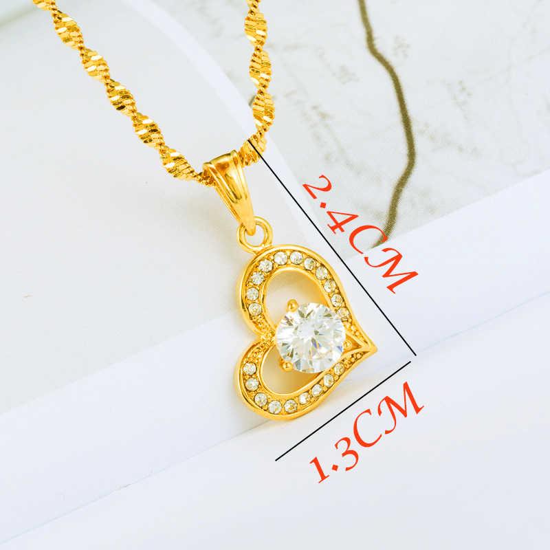 Cinta Warna Emas Liontin Kalung Rantai Ethiopian untuk Wanita Jantung Habesha Eritrea Hadiah Pesta Afrika dengan Air Rantai Gelombang