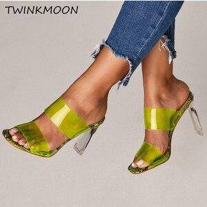 Image 1 - Chaussures claires talons hauts PVC bout ouvert sans lacet femmes néon sandales Sexy fête Transparent 2019 chaussures dété grande taille 35 42