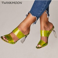 Plus Size 35 42 Clear Shoes High Heels PVC Open Toe Slip On Women Neon Sandals Sexy Party Transparent 2019 Summer Shoes