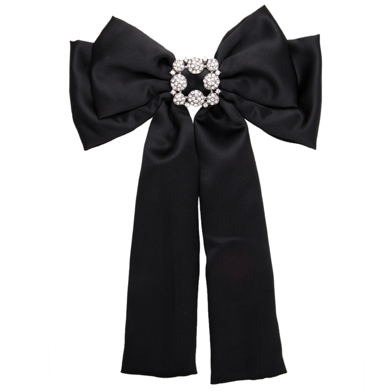 4d640593738 Large Rhinestone Bow Brooches For Women Shirt Dress Broches Jewelry Vintage  Collar Corsage Silk Bowknot Tie Ribbon Brooch Pins
