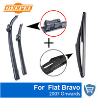 QEEPEI Front and Rear Wiper Blade no Arm For Fiat Bravo 2007 Onwards High quality Natural Rubber windscreen 24''+18''