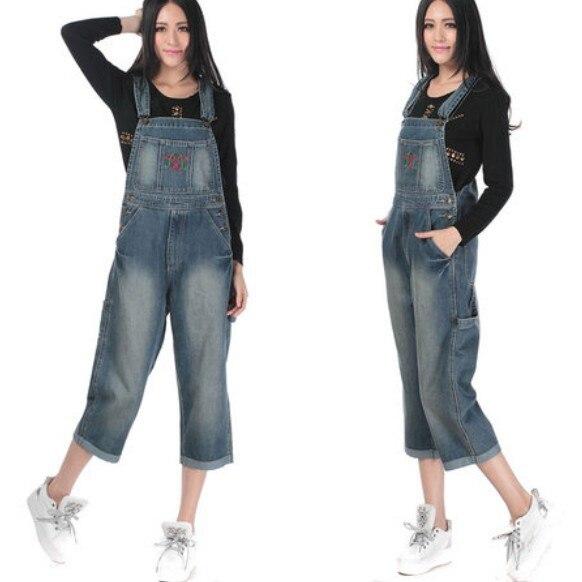 Модные капри с вышивкой женский комбинезон брюки женские высокого качества джинсовое изделие свободного кроя плюс размер Летний комбинезон - Цвет: Синий