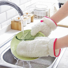 1 Pcs Bamboo Biber Waterproof Dish washing Gloves Oil-free Glove Kitchen Magic Cleaning Brush Clean Bowls Housework Scouring Rag