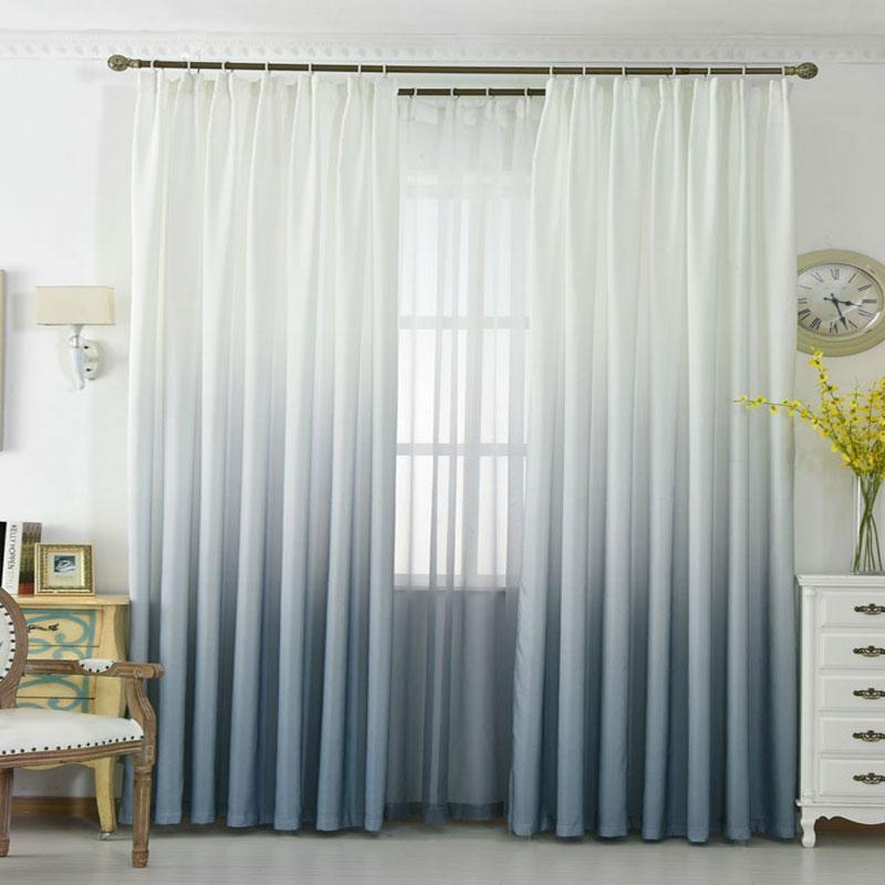 Grey Orange Blue Gradient Color Window Curtains For Living