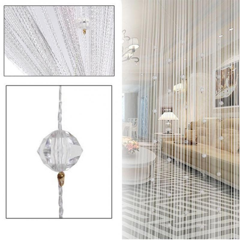 7 Colors Crystal Beading Tassel Silk String Curtain Screen Window Door Divider Sheer Valance Door Windows Panel Screen