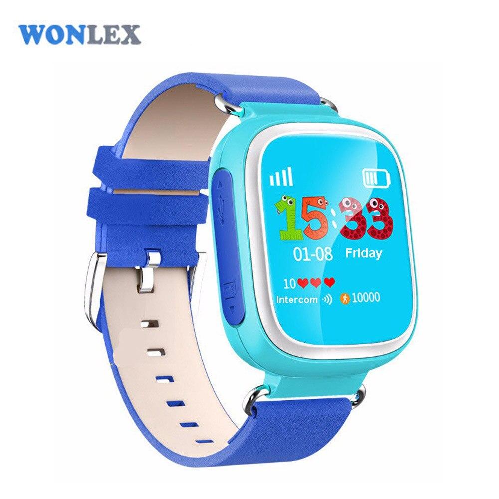 imágenes para Q80 Wonlex Nueva Llegada Niños Reloj GPS Tracker SOS Seguridad Kids Perdido Anti del bebé Reloj Promoción GW400