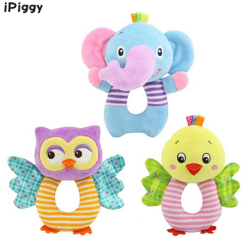 IPiggy Newborn Baby Toys Cartoon Animal Owl/Elephant Baby Boy Girl Rattles Hand Bell Infant Toddler Plush Toys Jouet Enfant